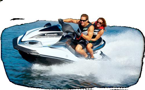 Active couple on jet ski